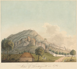 View of Dindigul with fort on hill-top
